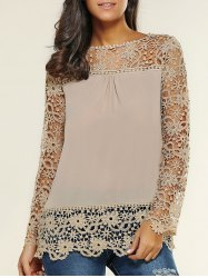Lace Spliced Floral Crochet Openwork Blouse -