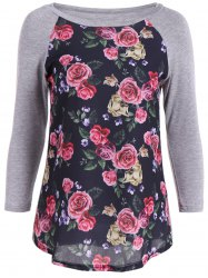 3D Floral Splicing Raglan Sleeve T-Shirt -