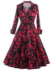 Long Sleeves Floral Print Surplice Dress