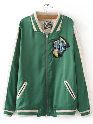 Cactus Embroidered Spliced Souvenir Jacket -