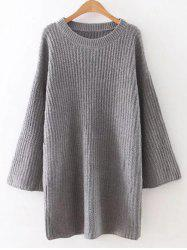 Relaxed Fit Long Sleeve Knitted Tunic Dress - GRAY