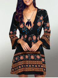 Long Sleeve Deep V A Line Floral Dress
