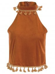 Stand Neck Vintage Tassels Faux Suede Tank Top -
