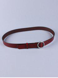 All Match Round Pin Buckle Faux Leather Belt - WINE RED