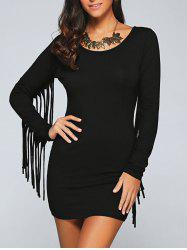 Long Sleeve Fringed Mini Bodycon Cocktail Dress