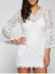Flare Sleeve Cut Out Lace Pencil Dress with Cami Dress Twinset -