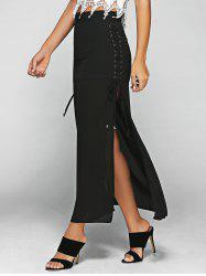 High Waist Lace-Up High Slit Maxi Skirt - BLACK