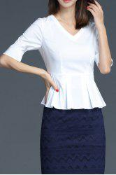 V Neck Ruffled Business Blouse
