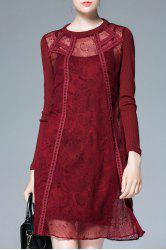 See-Through Long Sleeve Shift Dress with Slip Dress