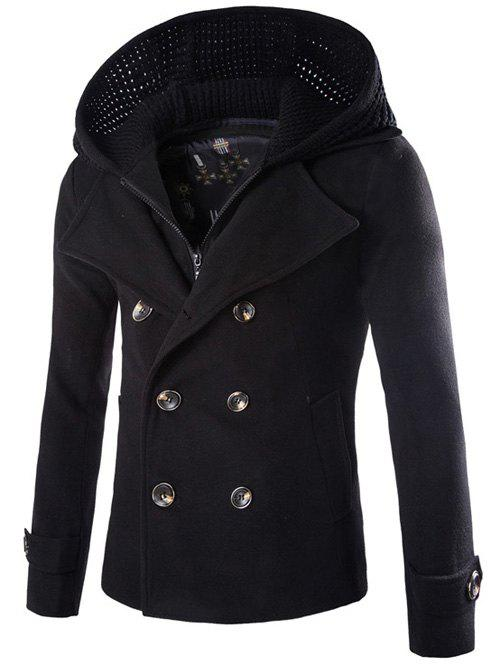 Fancy Detachable Knitting Hooded Pea Coat