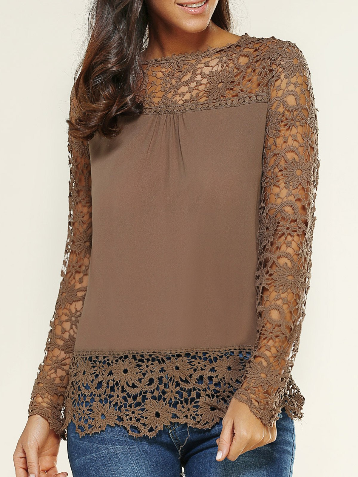5c93648685bc6 2018 Lace Spliced Floral Crochet Openwork Blouse In Light Coffee M ...