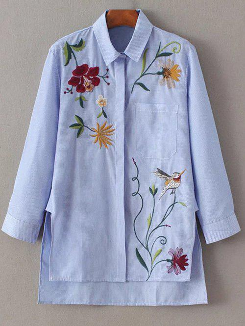 Chic Striped Embroidered Shirt