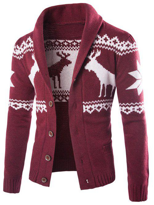 Shawl Collar Ethnic Elk Print Button Up CardiganMEN<br><br>Size: XL; Color: WINE RED; Type: Cardigans; Material: Cotton,Polyester; Sleeve Length: Full; Collar: Turn-down Collar; Style: Fashion; Weight: 0.864kg; Package Contents: 1 x Cardigan;