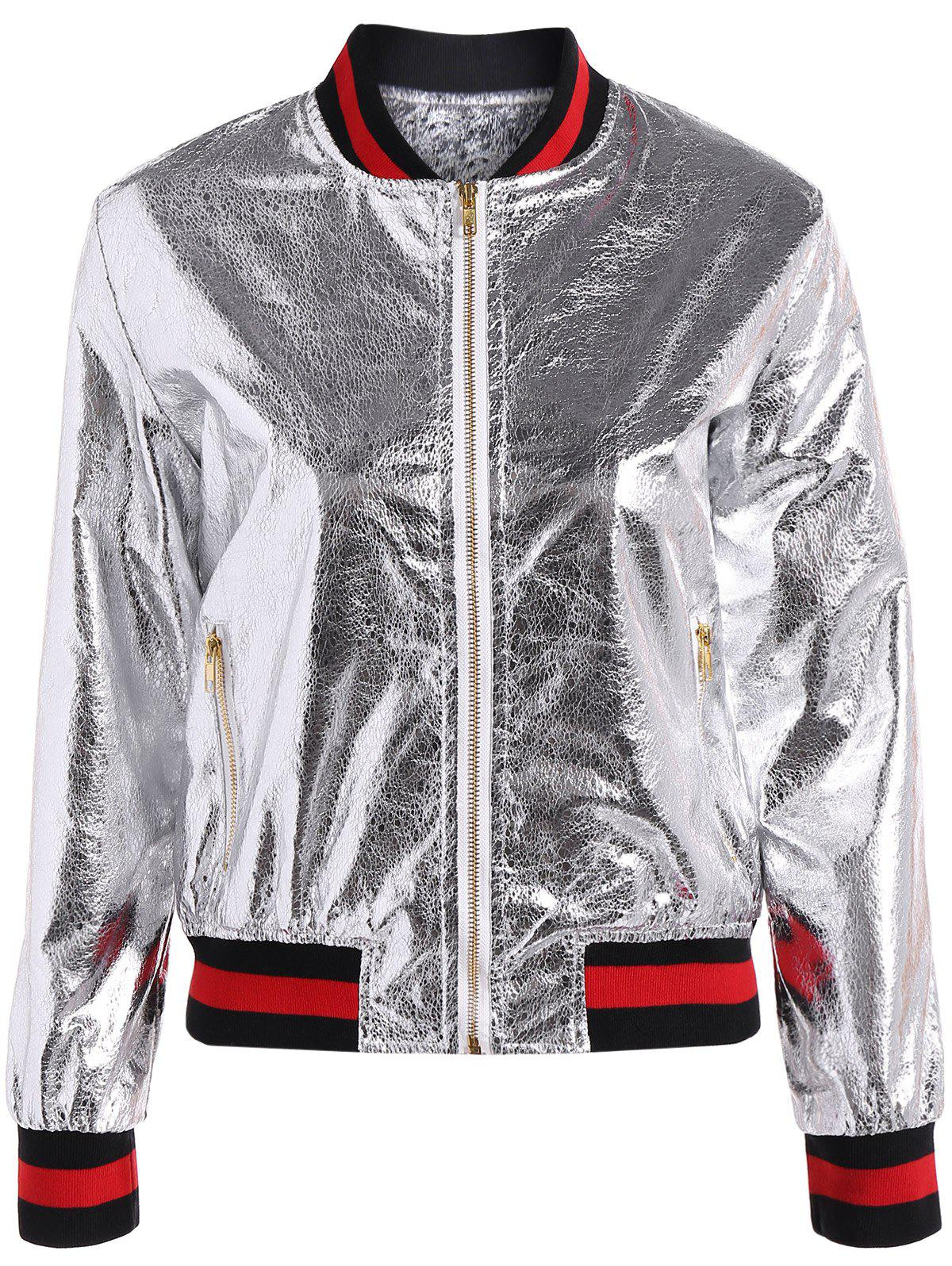 Shops Slim Zipper Fly PU Bomber Jacket