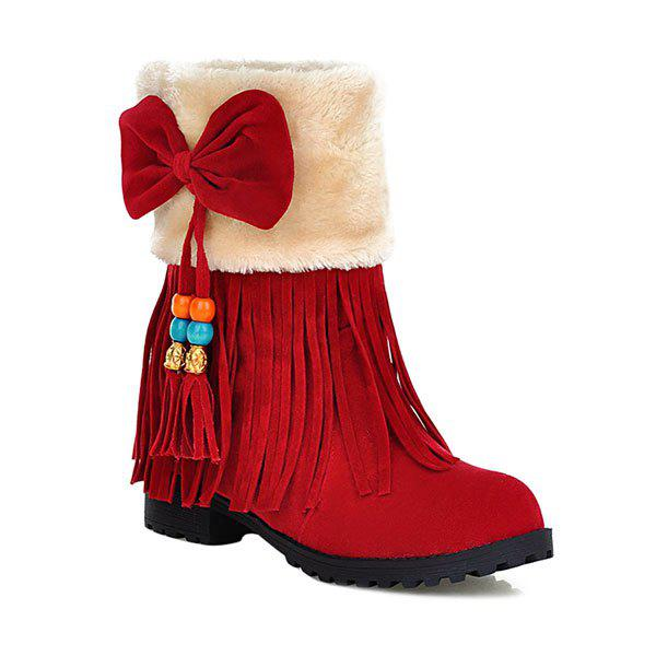 Affordable Bow Tassels Beading Boots