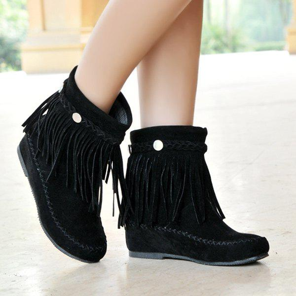 Outfits Flat Heel Braid Fringe Suede Short Boots