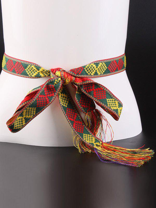 Online Aztec Embroidery Weaving Tassel Canvas Belt