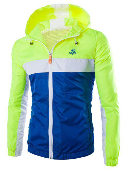 Cheap Color Block Splicing Hooded Zip-Up Polyester Jacket