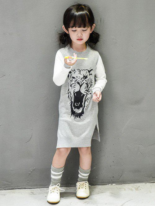 Store Girls Side Slit Tiger Print Knit Dress