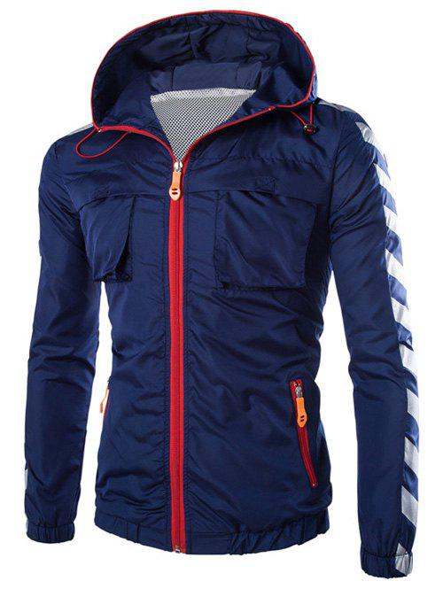Poches design Stripe Hooded Zip-Up Polyester Jacket Cadetblue M