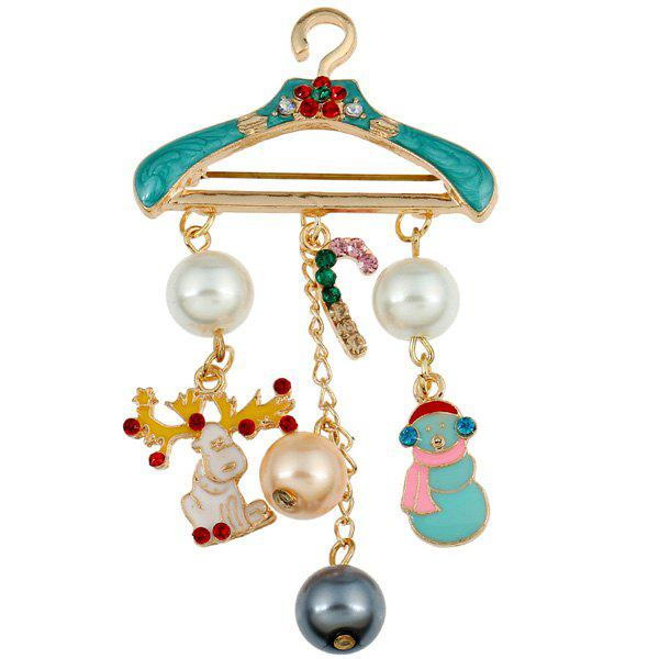 Faux Pearl Enamel Hanger Christmas BroochJEWELRY<br><br>Color: LIGHT GREEN; Brooch Type: Brooch; Gender: For Women; Material: Pearl; Metal Type: Gold Plated; Style: Trendy; Shape/Pattern: Others; Weight: 0.031kg; Package Contents: 1 x Brooch;