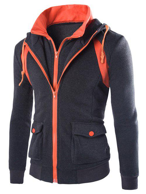Outfit Faux Twinset Hooded Pockets Design Double Zip-Up Jacket