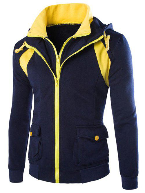 New Faux Twinset Hooded Pockets Design Double Zip-Up Jacket