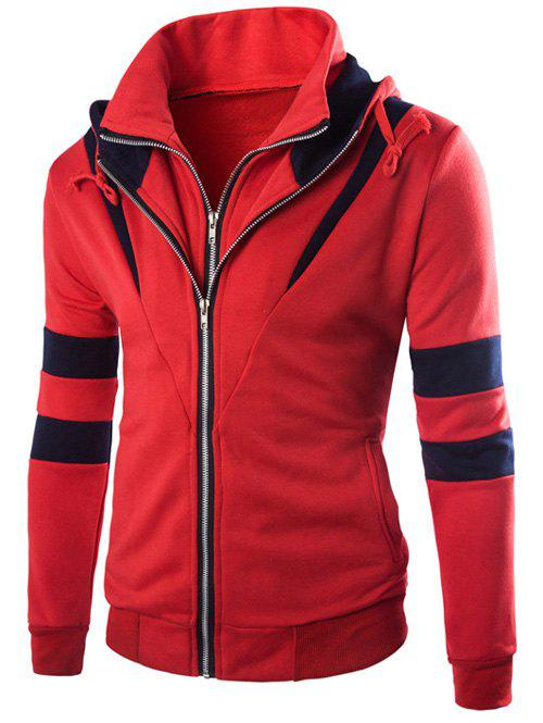 Faux Twinset Varsity Stripe Double Zip-Up Veste