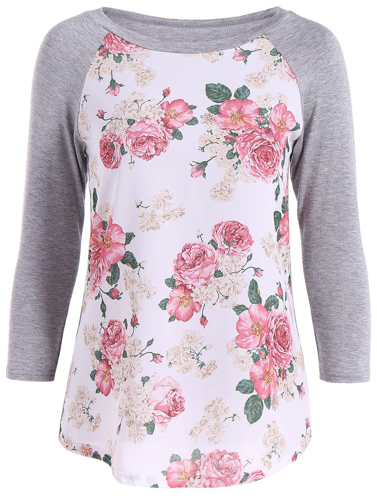 3D Floral Raglan Sleeve Tee от Rosegal.com INT