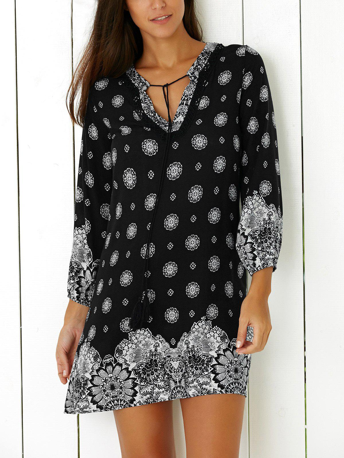Tribal Print Casual Going Out Shift DressWOMEN<br><br>Size: XL; Color: BLACK; Style: Vintage; Material: Polyester; Silhouette: Straight; Dresses Length: Mini; Neckline: V-Neck; Sleeve Length: 3/4 Length Sleeves; Pattern Type: Print; With Belt: No; Season: Fall,Spring; Weight: 0.2200kg; Package Contents: 1 x Dress;