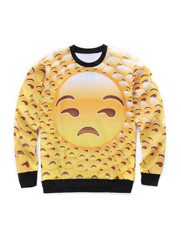 Chic Round Neck 3D Emoji Face Print Long Sleeve Sweatshirt