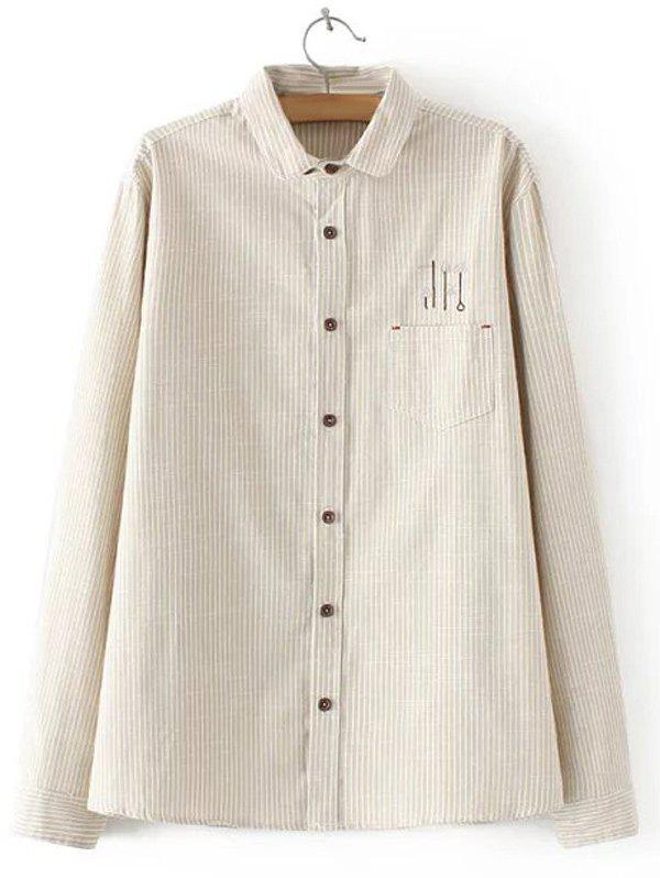 Store Embroidered Striped Buttoned Shirt