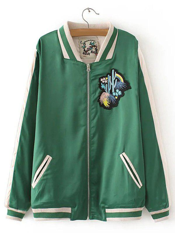 Fashion Cactus Embroidered Spliced Souvenir Jacket