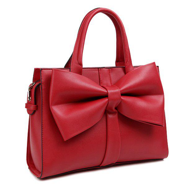 Store PU Leather Bow Zipper Tote Bag