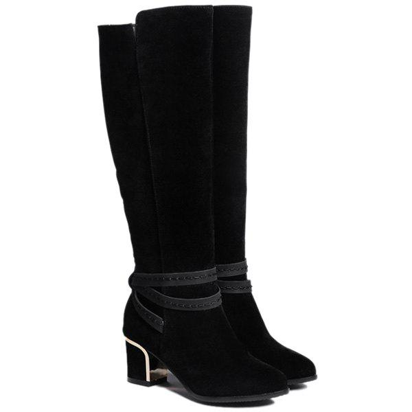 Online Suede Cross Straps Zipper Knee High Boots
