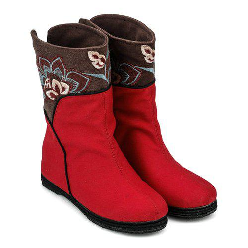 Hot Color Block Embroidery Mid-Calf Boots