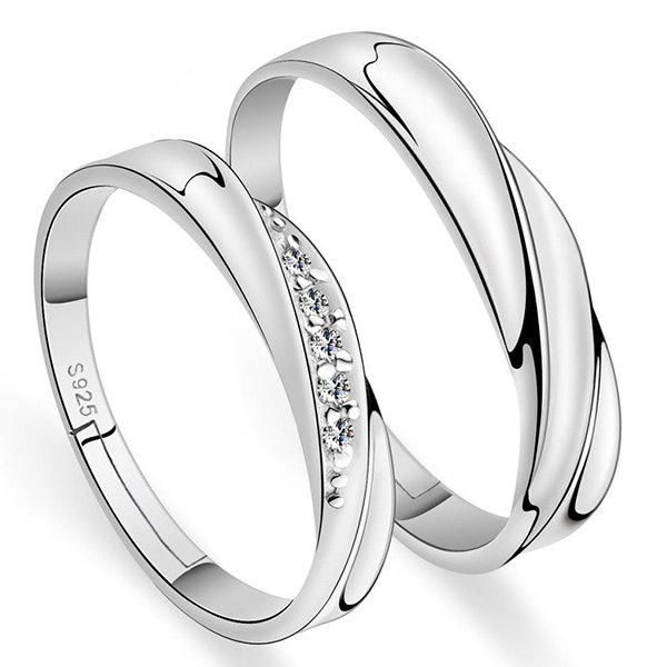 Brief Polished Rhinestone Couple RingsJEWELRY<br><br>Color: SILVER; Gender: For Lovers'; Metal Type: Silver Plated; Style: Trendy; Shape/Pattern: Others; Weight: 0.050kg; Package Contents: 2 x Rings;