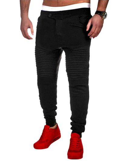 Fancy Casual Pleated Insert Buttoned Jogger Pants
