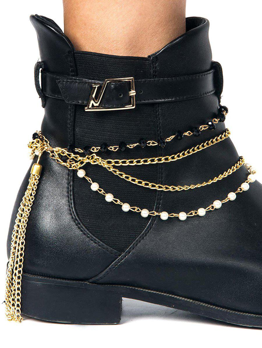 Outfit Beaded Tassel Layered Boot Anklet