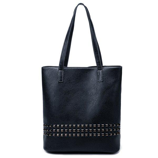 Sale PU Leather Rivet Embellished Shoulder Bag