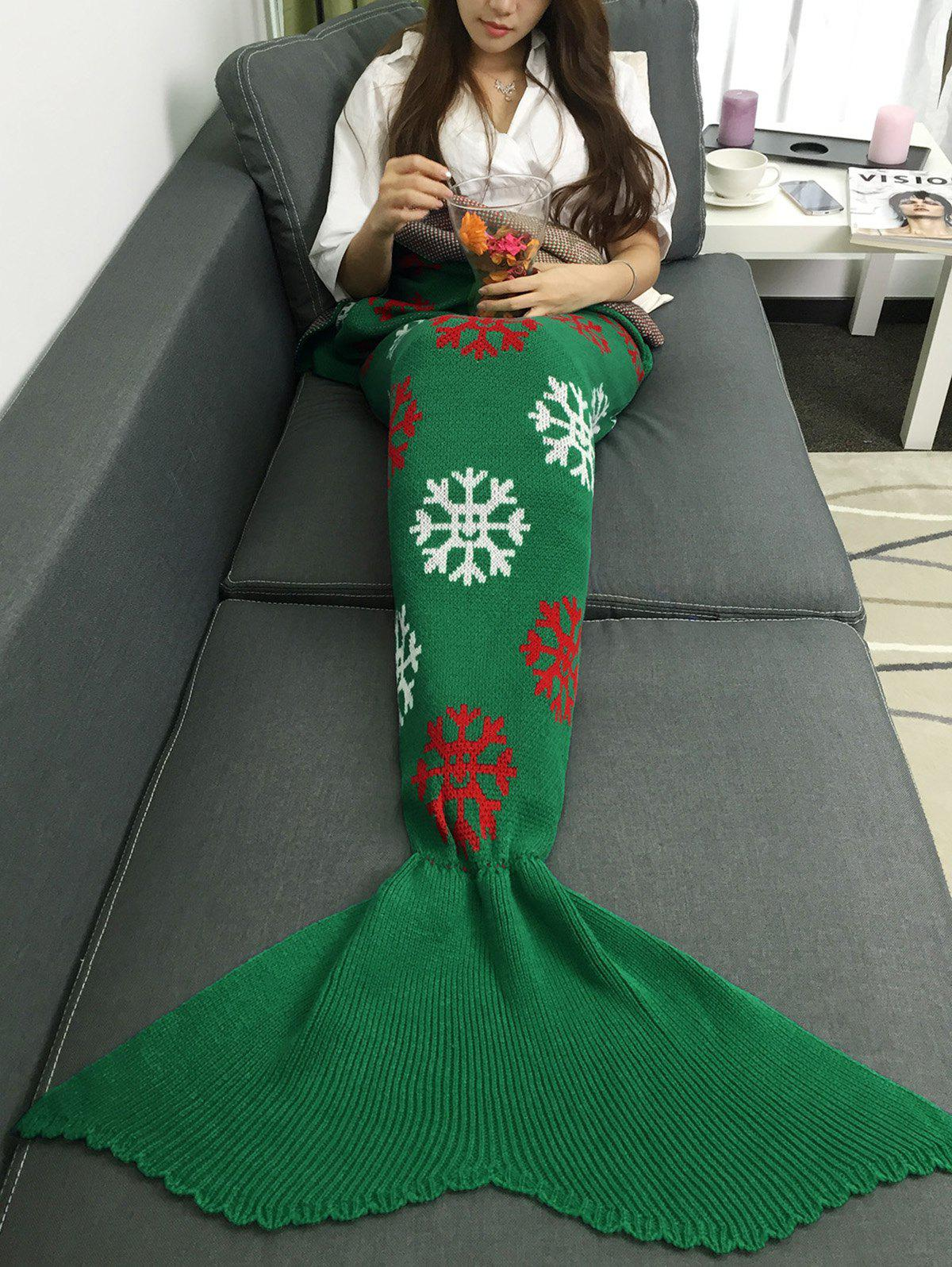 Unique Christmas Snows Design Knitted Mermaid Tail Blanket