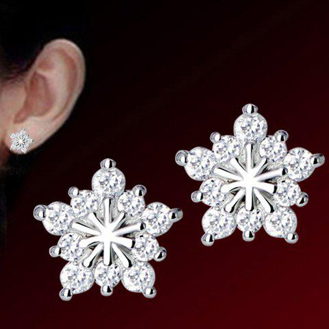 Pair of Snowflake Stud EarringsJEWELRY<br><br>Color: SILVER; Earring Type: Stud Earrings; Gender: For Women; Metal Type: Alloy; Style: Trendy; Shape/Pattern: Others; Weight: 0.022kg; Package Contents: 1 x Earrings (Pair);