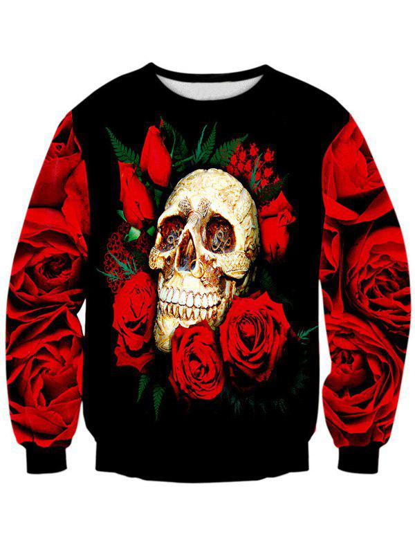 Trendy Rose Skull 3D Print Long Sleeve Crew Neck Sweatshirt