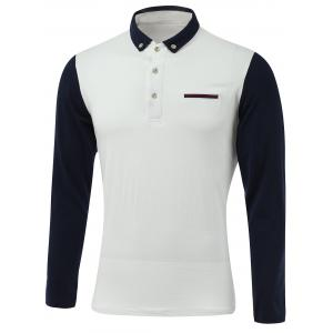 Color Block Turn-Down Collar Long Sleeve Polo T-Shirt