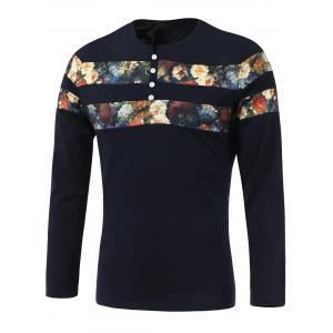 Floral Print Spliced Round Neck Long Sleeve T-Shirt - Sapphire Blue - 3xl