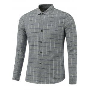 Checked Print Turn-Down Collar Long Sleeve Shirt