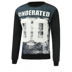Letter and Number Print Round Neck Long Sleeve Sweatshirt