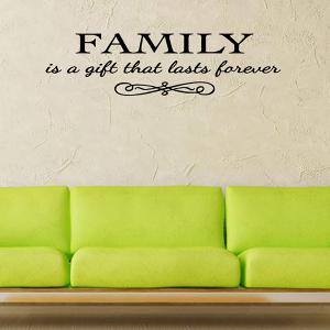 Vinyl Family Proverbs Waterproof Removable Wall Stickers - Black - 56*20cm