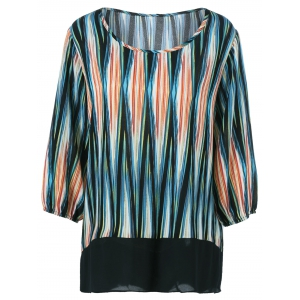 Plus Size Asymmetrical Striped Blouse - Colormix - 4xl