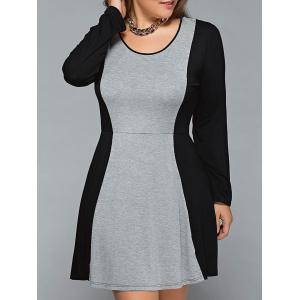 Plus Size Long Sleeve Flare Dress